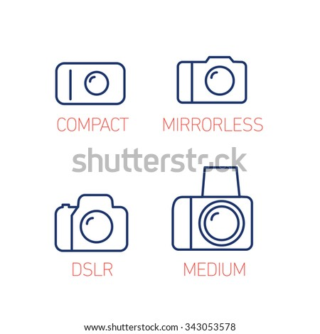 camera and photography systems from compact to mirrorless, dslr and medium format vector linear icons and infographic | illustrations of gear and equipment for photographers  on white background - stock vector