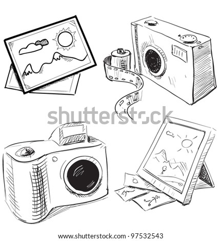 Camera and picture icons. Sketch vector objects  isolated on white background - stock vector