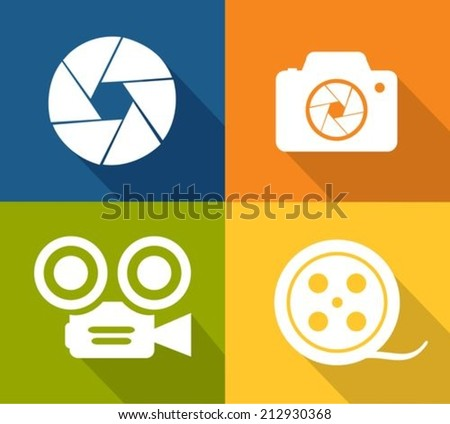 Camera and shutter icons - stock vector