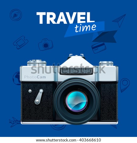 Camera and travel badge. Vacation travel background. Easy to edit design template. - stock vector
