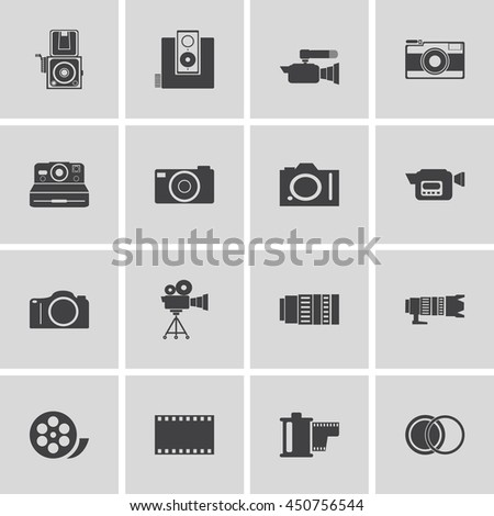 camera and Video icons set ,Illustration eps 10 - stock vector