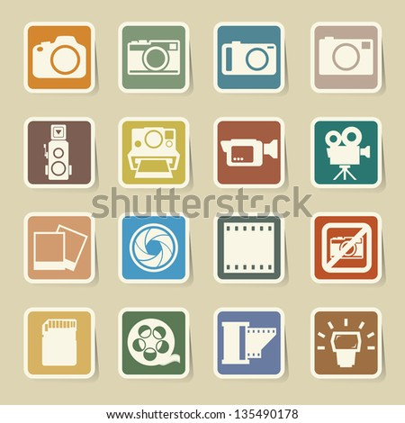 Camera and Video sticker icons set, Illustration - stock vector
