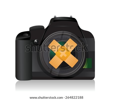 camera band aid fix solution concept illustration design over white background - stock vector