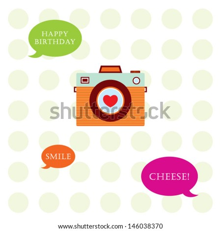 camera birthday card - stock vector