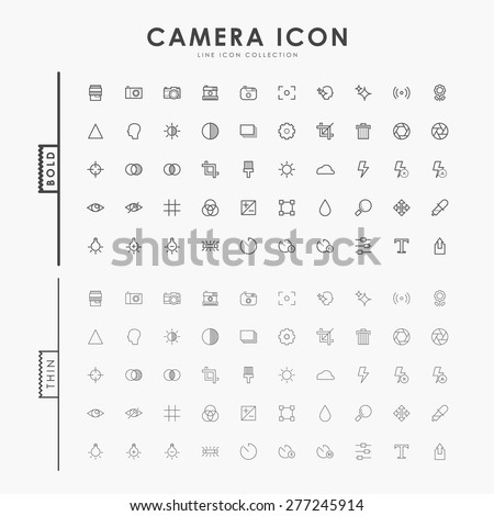 camera bold and thin line icons - stock vector