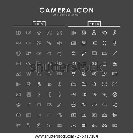 camera bold and thin outline icons - stock vector