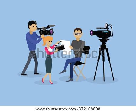 Camera crew team people group flat style. Film crew, camera man, tv crew, video camera, television teamwork, recording movie, production studio illustration. Camera crew vector concept - stock vector