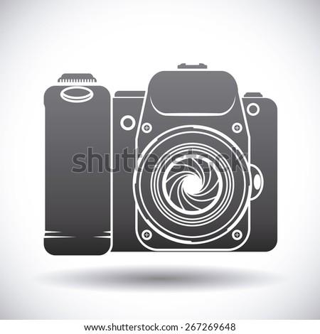Camera design over white background, vector illustration. - stock vector