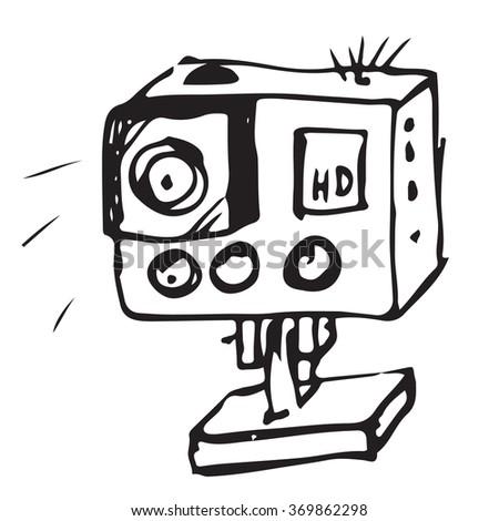 Camera doodle - stock vector