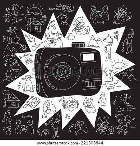 Camera draw objects Draw of usual objects from  photo with camera. Black and white vector illustration. - stock vector