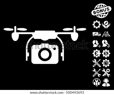 Camera Drone icon with bonus options clip art. Vector illustration style is flat iconic symbols, white color, black background.