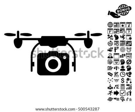 Camera Drone pictograph with bonus calendar and time management clip art. Vector illustration style is flat iconic symbols, black color, white background.