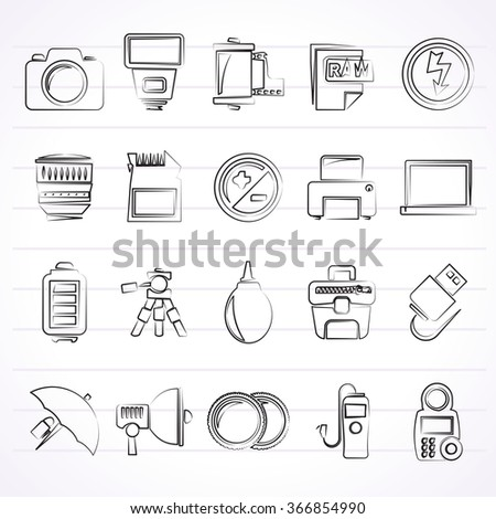 Camera equipment and photography icons - Vector Icon Set  - stock vector