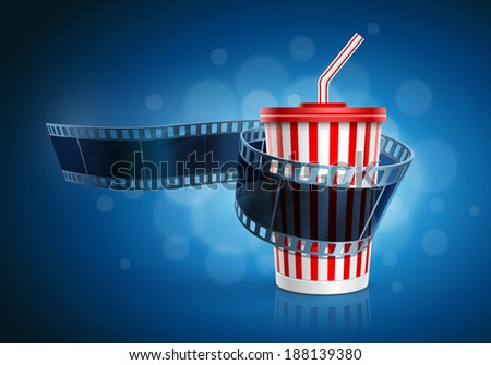 Camera film roll and cardboard cup with a straw on blue defocus background. Vector illustration. - stock vector