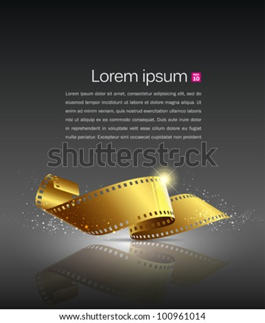 Camera film roll gold color, vector illustration - stock vector