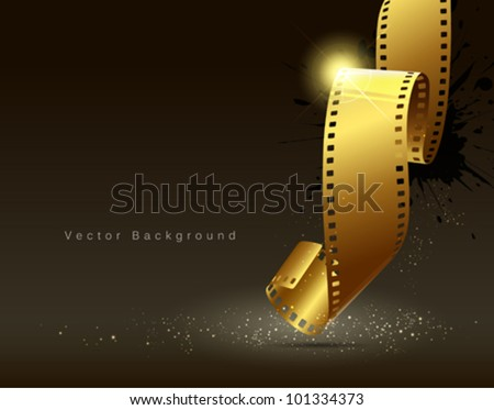 Camera film roll gold color, vector illustration