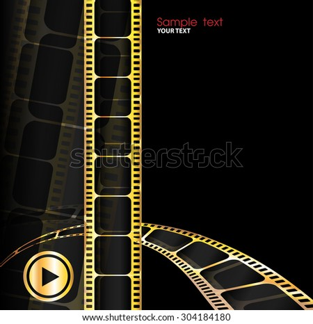 Camera film roll gold color, vector illustration - stock vector