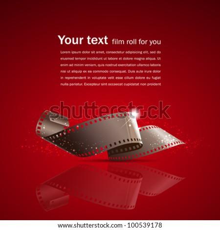 Camera film roll on red background, vector illustration - stock vector
