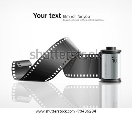 Camera film roll silver, vector illustration - stock vector
