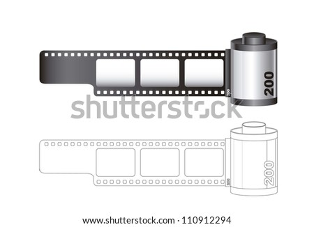 Camera film roll with lines isolated over white background. vector - stock vector