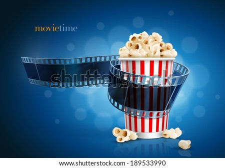 Camera film strip and popcorn on blue defocus background. Detailed vector illustration. Elements are layered separately in vector file. EPS10. - stock vector