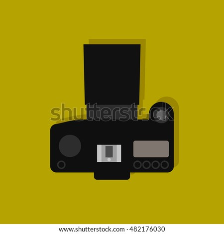 Camera , flat icon , view from above