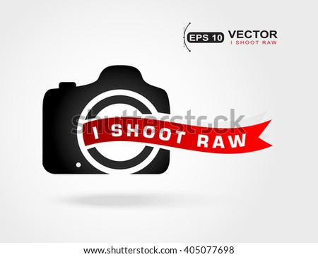 Camera icon.I shoot Raw.Love photo.Shoot Raw photo format.Concept icon for photography enthusiasts - stock vector
