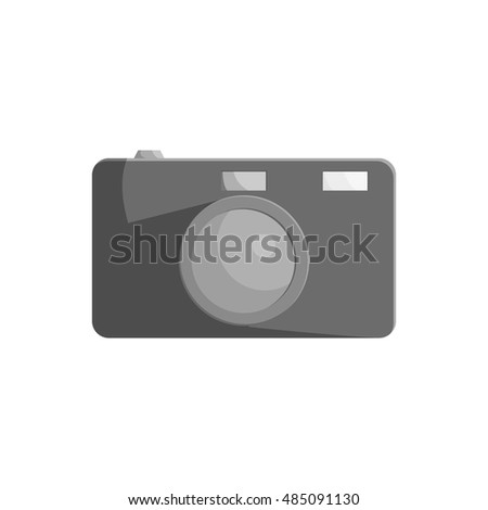 Camera icon in black monochrome style isolated on white background. Shooting symbol vector illustration