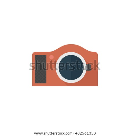 Camera icon in flat color style. Photography picture electronic imaging capture mirror less digital