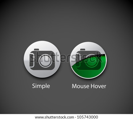 camera icon on round button collection design. - stock vector