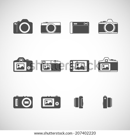 camera icon set, each icon is a single object (compound path), vector eps10 - stock vector