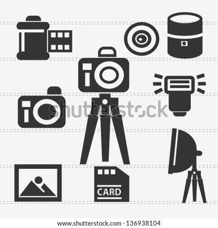 Camera icon set,vector - stock vector