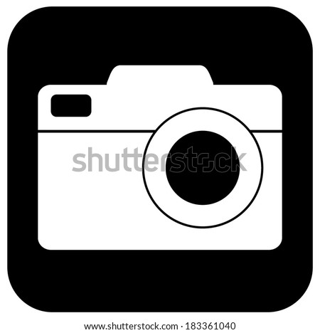 Camera icon, symbol, sign, black and white. vector art image illustration, eps10, isolated. - stock vector