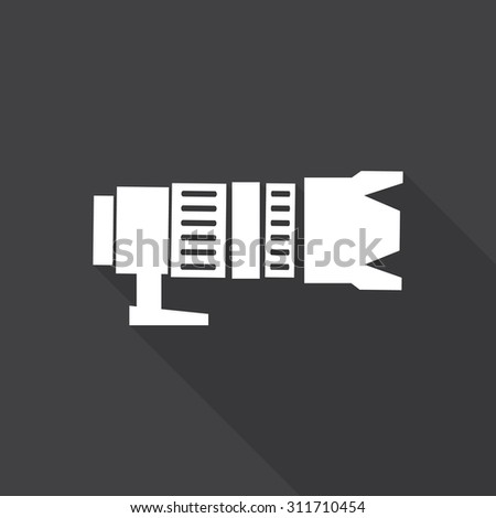 camera icon with long shadow. - stock vector