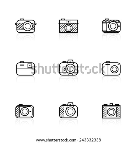 camera icons - stock vector