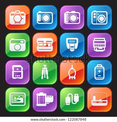 Camera Icons and Camera Accessories Icons : Glossy Style - stock vector