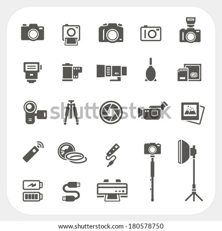 Camera icons and Camera Accessories icons set - stock vector