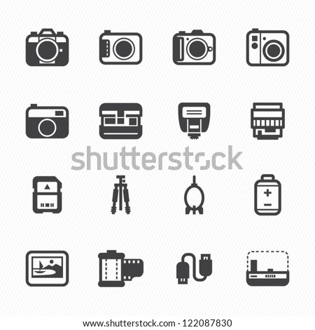 Camera Icons and Camera Accessories Icons with White Background - stock vector