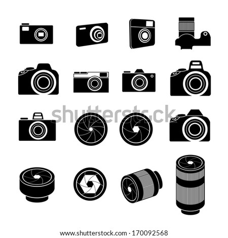 Camera Icons and Camera lens Icons - stock vector