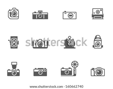 Camera icons in black & white - stock vector