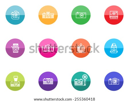 Camera icons in color circles. - stock vector