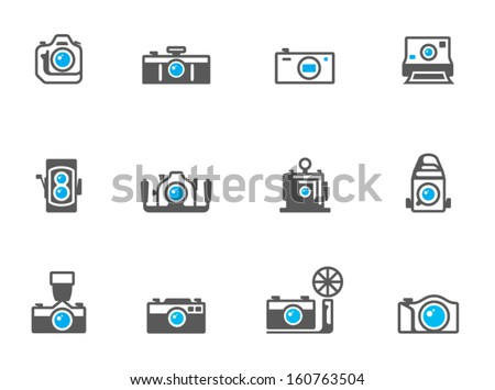 Camera icons in duo tone colors - stock vector