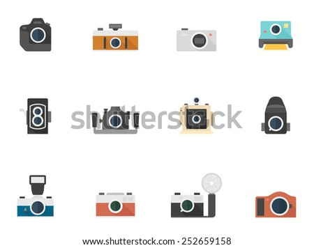Camera icons in flat colors style. - stock vector