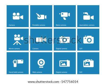 Camera icons on blue background. Vector illustration.