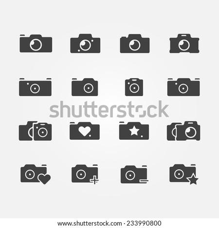 Camera icons set - black vector camera symbols - stock vector