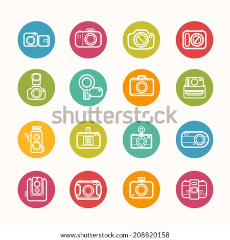 Camera icons set Circle Series