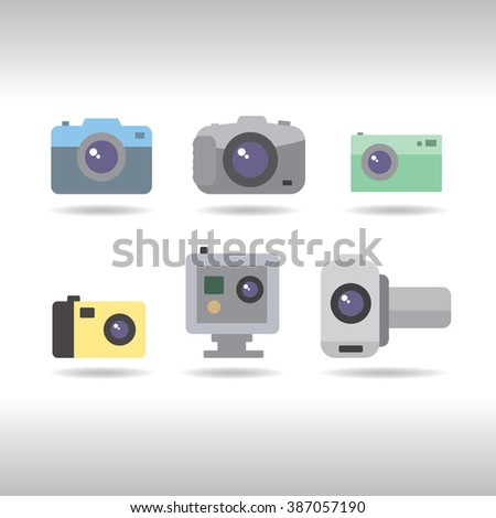 Camera icons set on white background. Vector illustrations for photographers. - stock vector