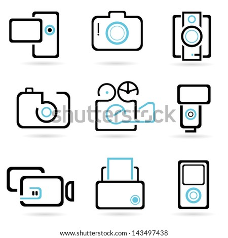 camera icons set, vector - stock vector