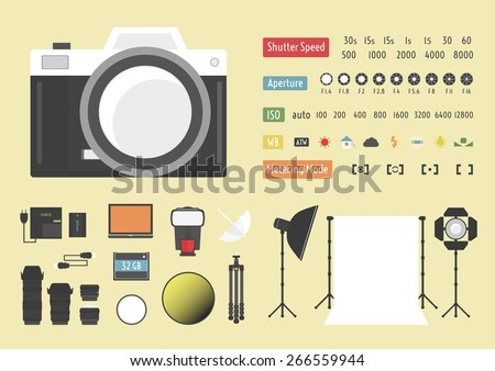 camera infographic, hybrid photography,  studio kit, other accessories - stock vector