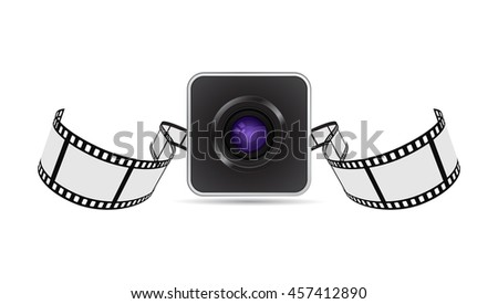 camera lens and film strip icon 3d - stock vector
